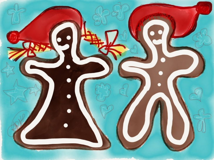 A drawing of two ginger cookies in Christmas Calendar 2014 from Santa Claus.