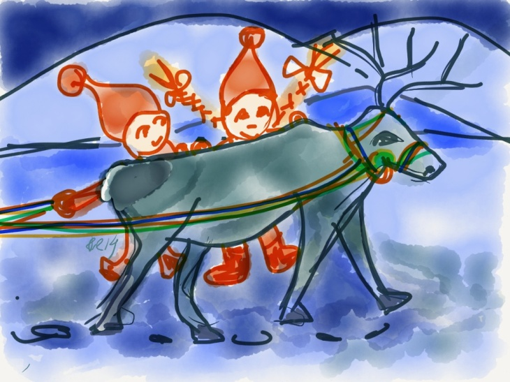 The Elves met Santa Claus´reindeer practicing for Christmas Eve. Drawing by Santa Claus for Christmas Calendar.