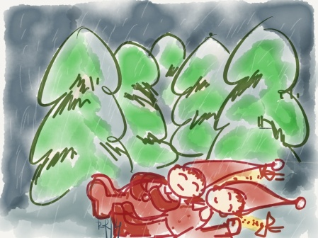The elves are sleeping and dreaming of homecoming. It is snowing in the woods.