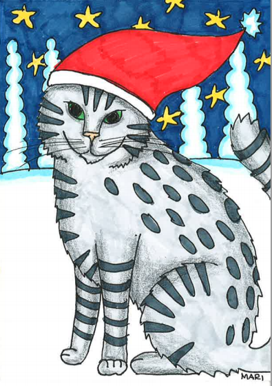 There was a lonely Christmas Cat in the snow. It told, that it was fallen from the sled.